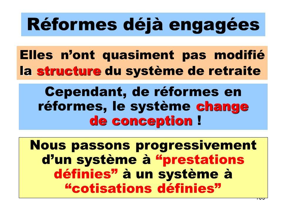 103 Réformes déjà engagées change Cependant, de réformes en réformes, le système change de conception de conception .