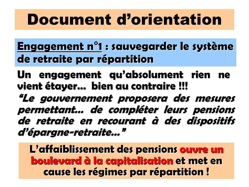 108 Document dorientation Engagement n°1 : sauvegarder le système de retraite par répartition Un engagement quabsolument rien ne vient étayer… bien au contraire !!.