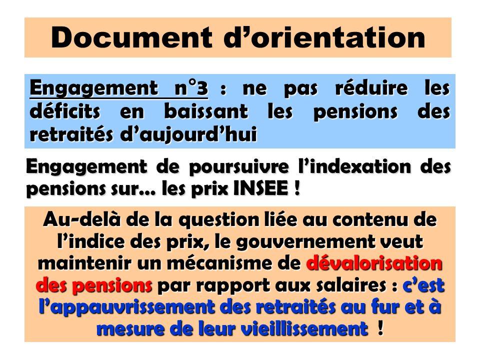 110 Document dorientation Engagement n°3 : ne pas réduire les déficits en baissant les pensions des retraités daujourdhui Engagement de poursuivre lindexation des pensions sur… les prix INSEE .