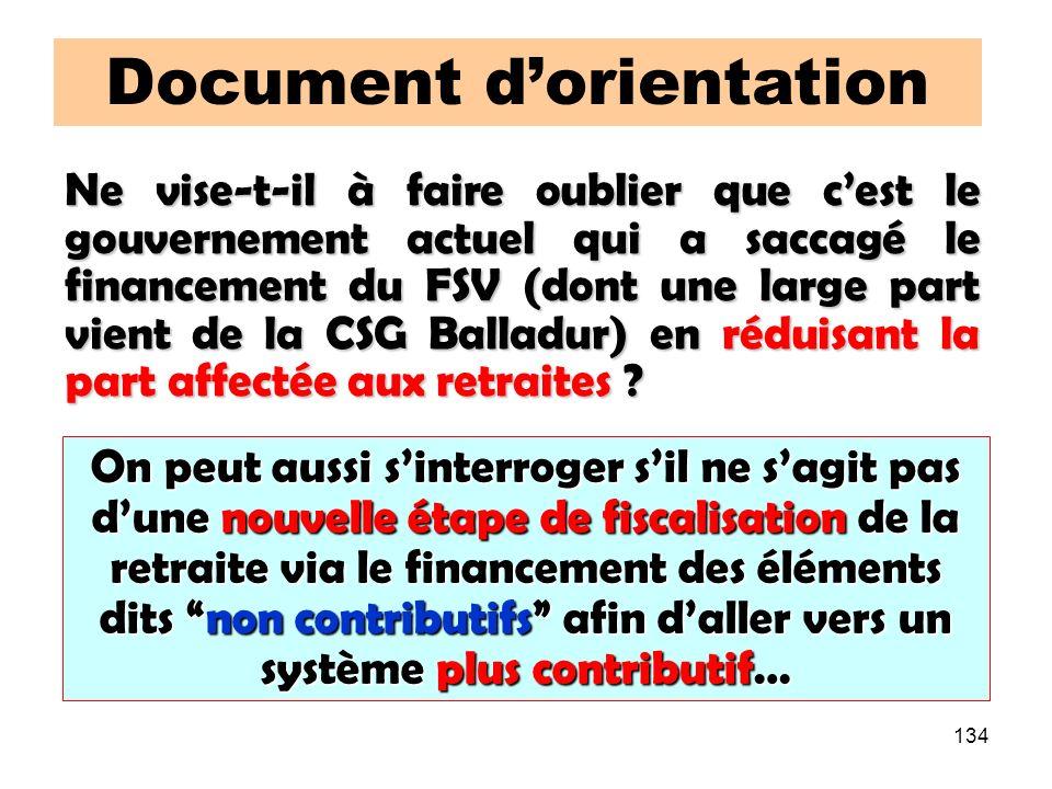 134 Document dorientation Ne vise-t-il à faire oublier que cest le gouvernement actuel qui a saccagé le financement du FSV (dont une large part vient de la CSG Balladur) en réduisant la part affectée aux retraites .