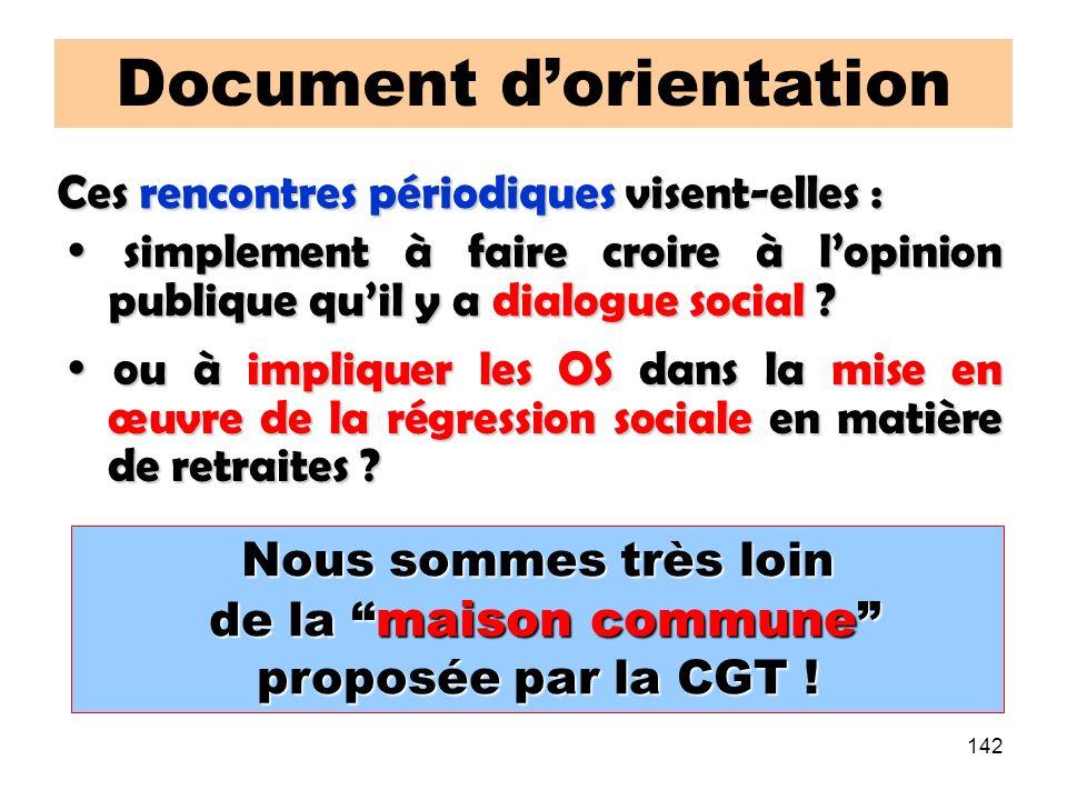 142 Document dorientation Nous sommes très loin de la maison commune de la maison commune proposée par la CGT .