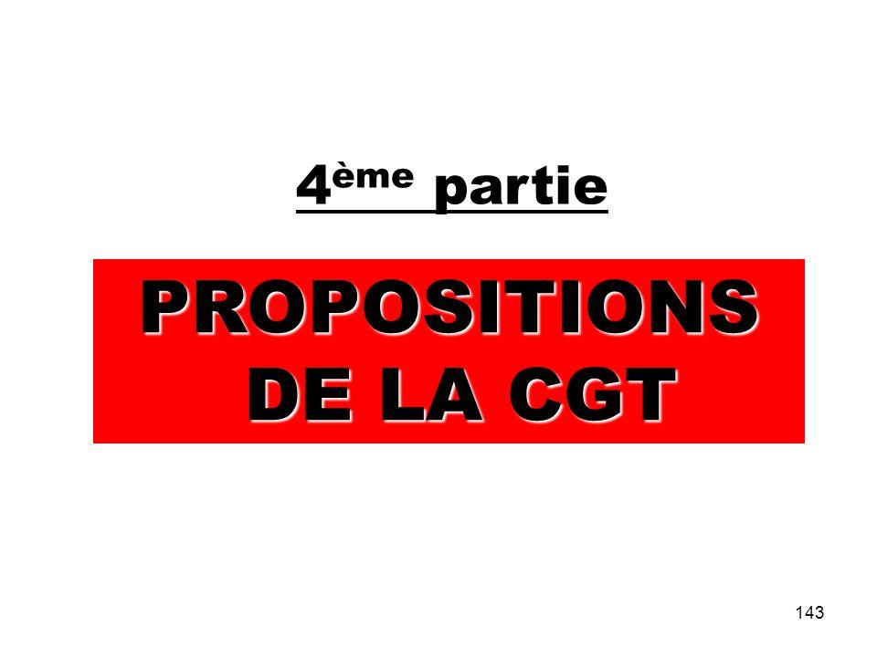 143 4 ème partie PROPOSITIONS DE LA CGT DE LA CGT