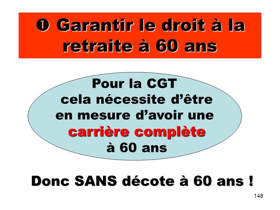 148 Garantir le droit à la retraite à 60 ans Garantir le droit à la retraite à 60 ans Pour la CGT cela nécessite dêtre en mesure davoir une carrière complète à 60 ans Donc SANS décote à 60 ans !