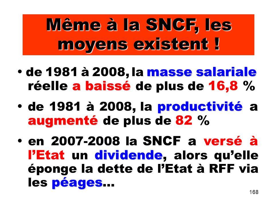 168 Même à la SNCF, les moyens existent .