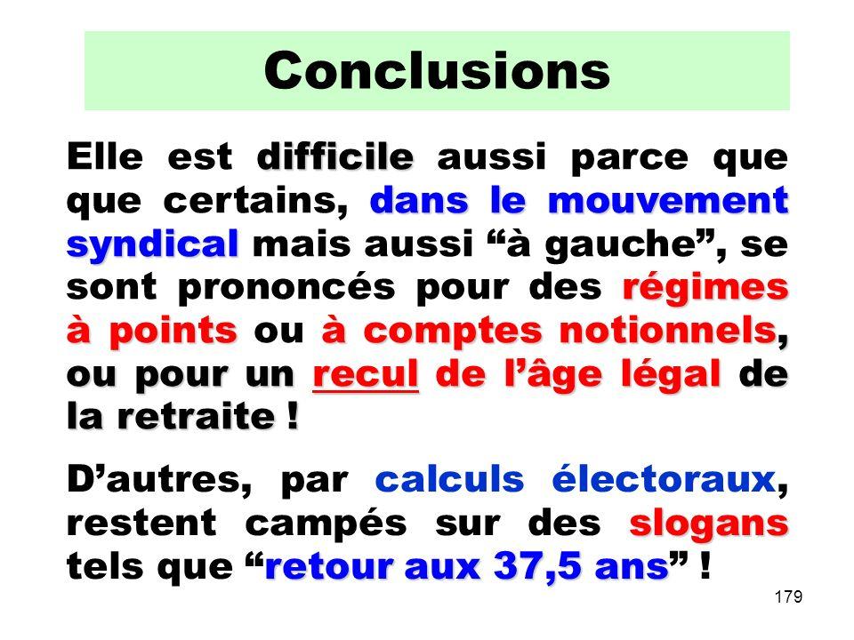 179 Conclusions difficile dans le mouvement syndical régimes à pointsà comptes notionnels, ou pour un recul de lâge légal de la retraite .