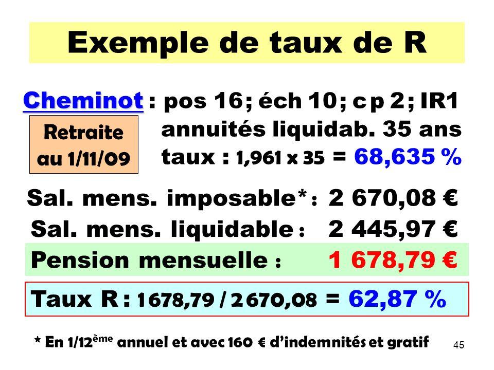 45 Exemple de taux de R Cheminot Cheminot : pos 16 ; éch 10 ; c p 2 ; IR1 annuités liquidab.