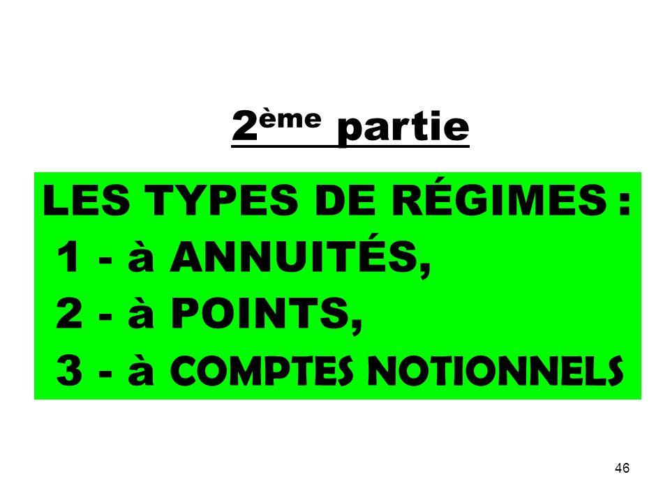 46 2 ème partie LES TYPES DE RÉGIMES : 1 - à ANNUITÉS, 2 - à POINTS, 3 - à COMPTES NOTIONNELS