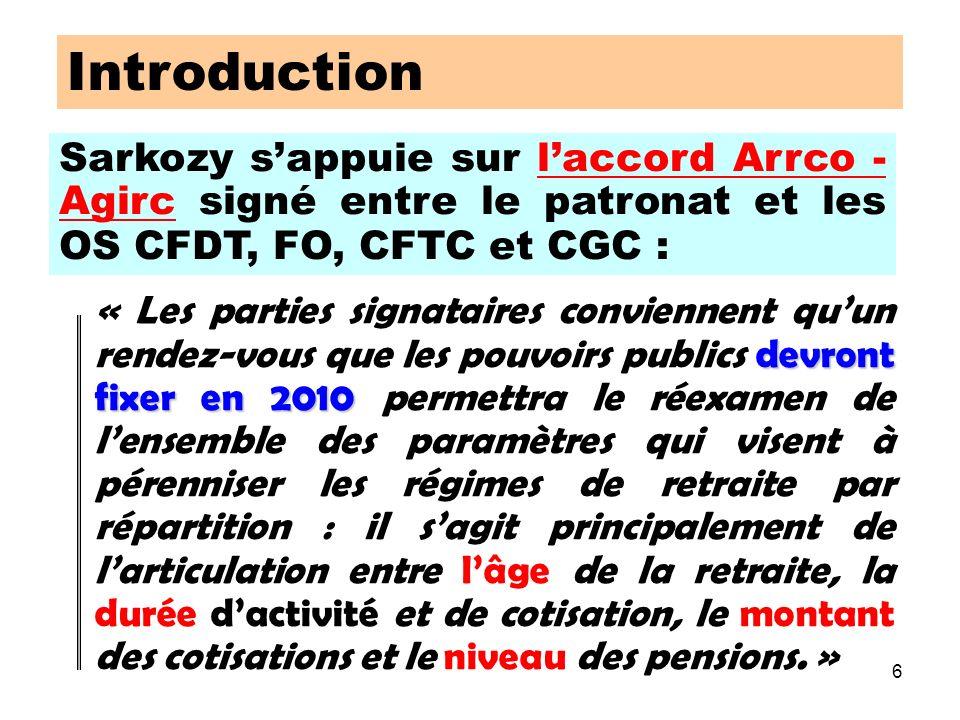 6 Sarkozy sappuie sur laccord Arrco - Agirc signé entre le patronat et les OS CFDT, FO, CFTC et CGC : Introduction devront fixer en 2010 « Les parties signataires conviennent quun rendez-vous que les pouvoirs publics devront fixer en 2010 permettra le réexamen de lensemble des paramètres qui visent à pérenniser les régimes de retraite par répartition : il sagit principalement de larticulation entre lâge de la retraite, la durée dactivité et de cotisation, le montant des cotisations et le niveau des pensions.