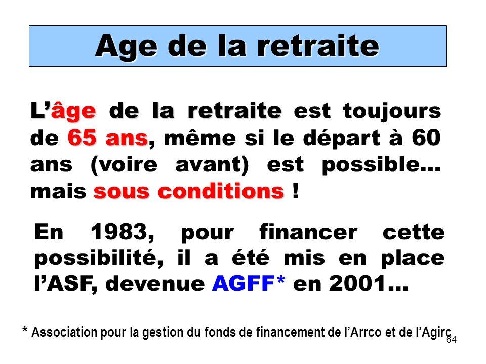 64 Lâge de la retraite 65 ans sous conditions Lâge de la retraite est toujours de 65 ans, même si le départ à 60 ans (voire avant) est possible… mais sous conditions .