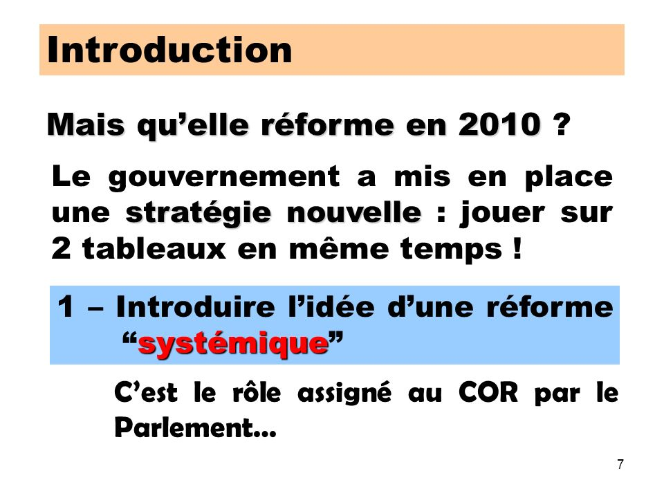 7 Introduction Mais quelle réforme en 2010 Mais quelle réforme en 2010 .
