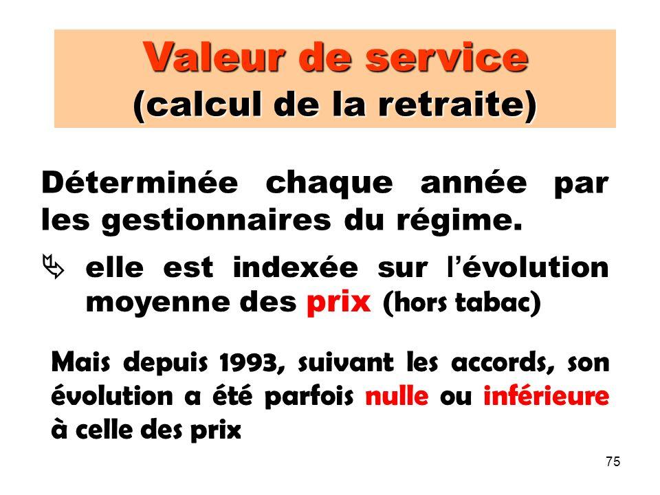 75 Valeur de service (calcul de la retraite) Déterminée chaque année par les gestionnaires du régime.