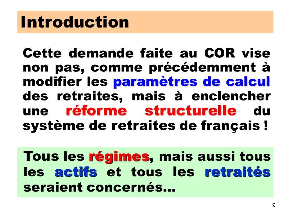 9 Introduction paramètres de calcul réforme structurelle Cette demande faite au COR vise non pas, comme précédemment à modifier les paramètres de calcul des retraites, mais à enclencher une réforme structurelle du système de retraites de français .