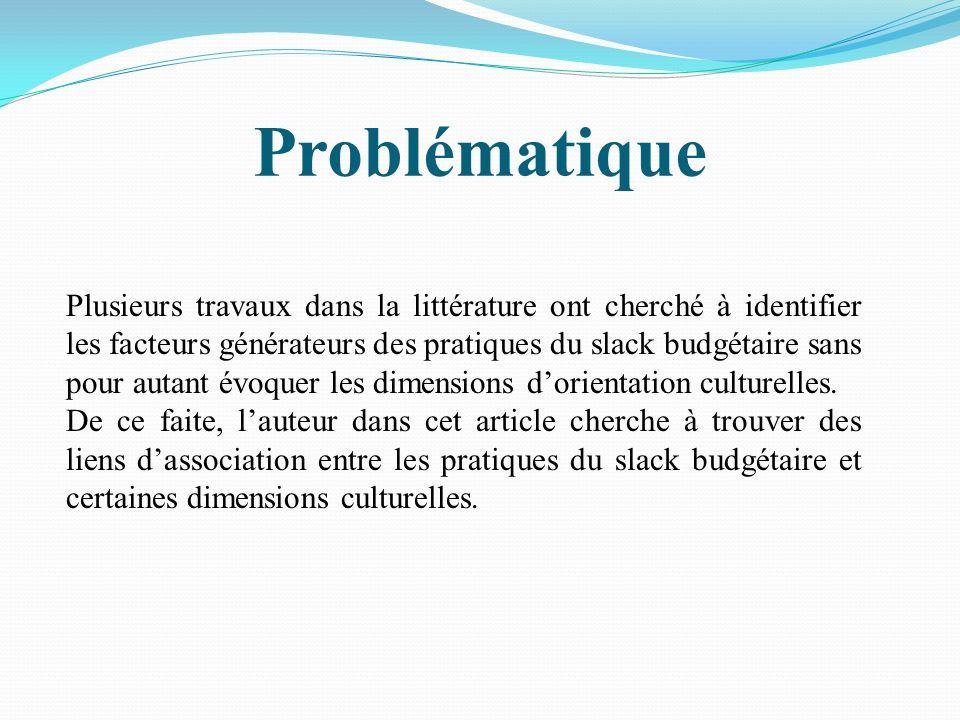 Problématique Plusieurs travaux dans la littérature ont cherché à identifier les facteurs générateurs des pratiques du slack budgétaire sans pour auta