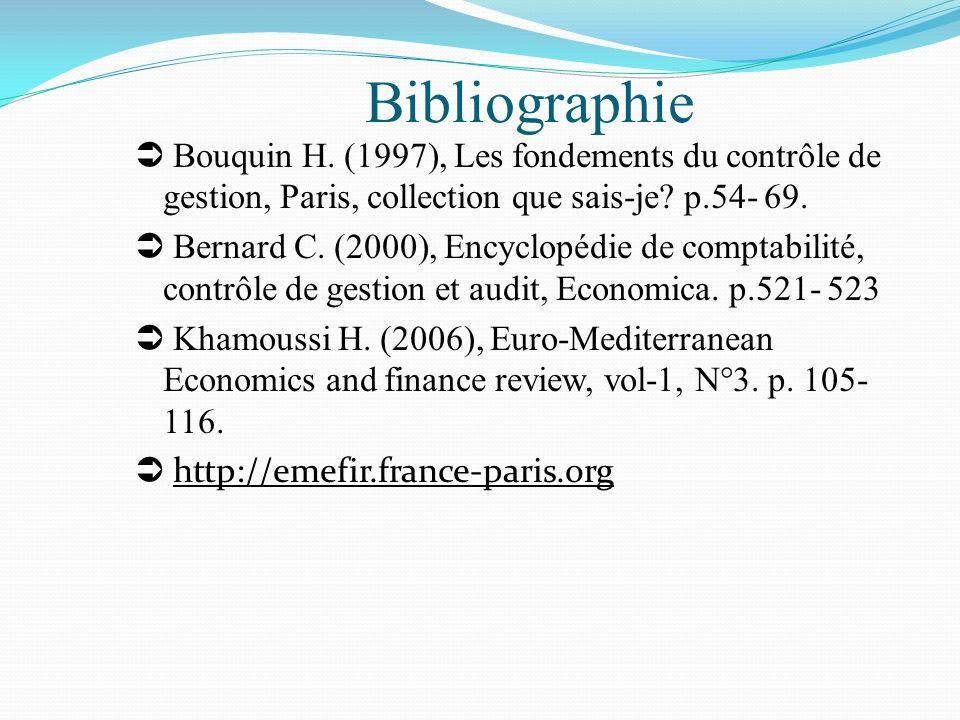 Bibliographie Bouquin H. (1997), Les fondements du contrôle de gestion, Paris, collection que sais-je? p.54- 69. Bernard C. (2000), Encyclopédie de co