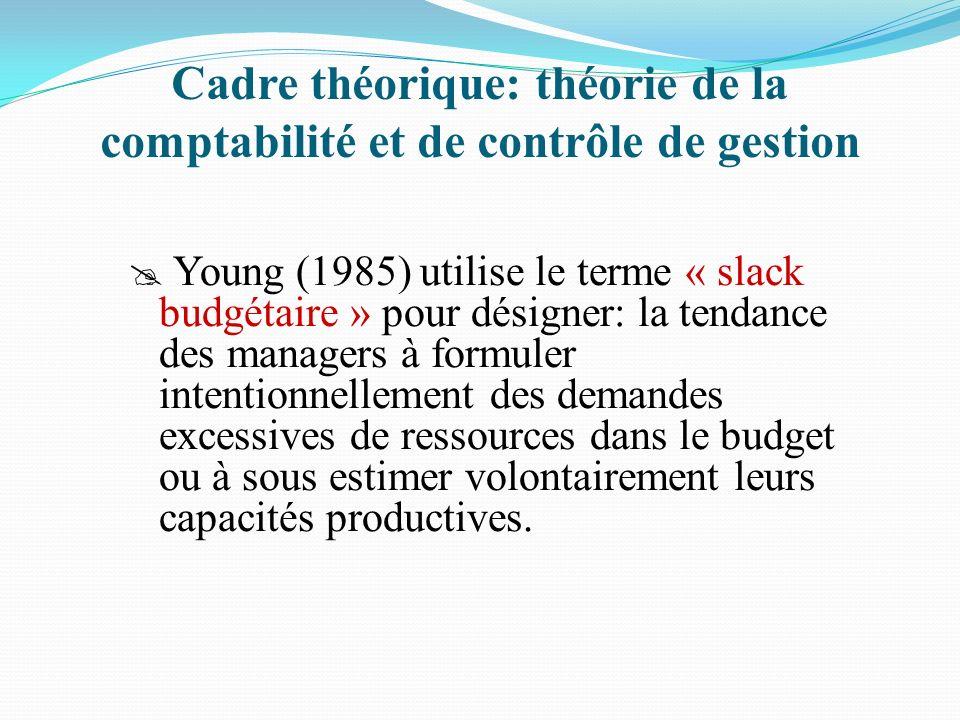 Cadre théorique: théorie de la comptabilité et de contrôle de gestion Young (1985) utilise le terme « slack budgétaire » pour désigner: la tendance de