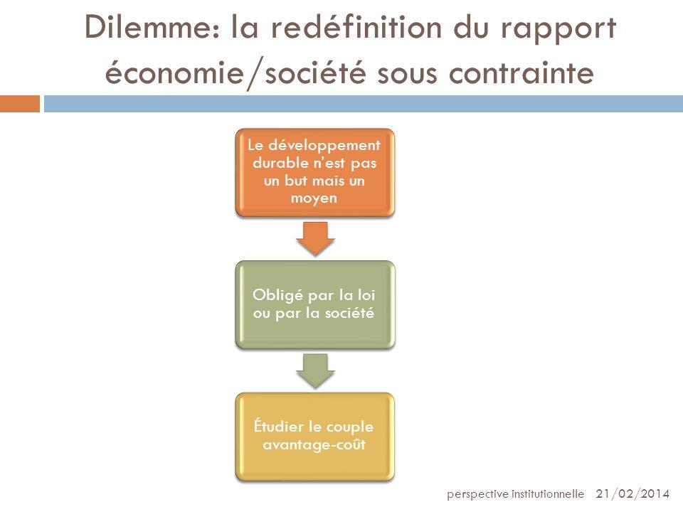 Dilemme: la redéfinition du rapport économie/société sous contrainte 21/02/2014perspective institutionnelle Le développement durable nest pas un but m