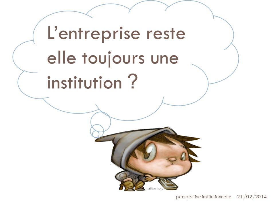 21/02/2014perspective institutionnelle Lentreprise reste elle toujours une institution ?
