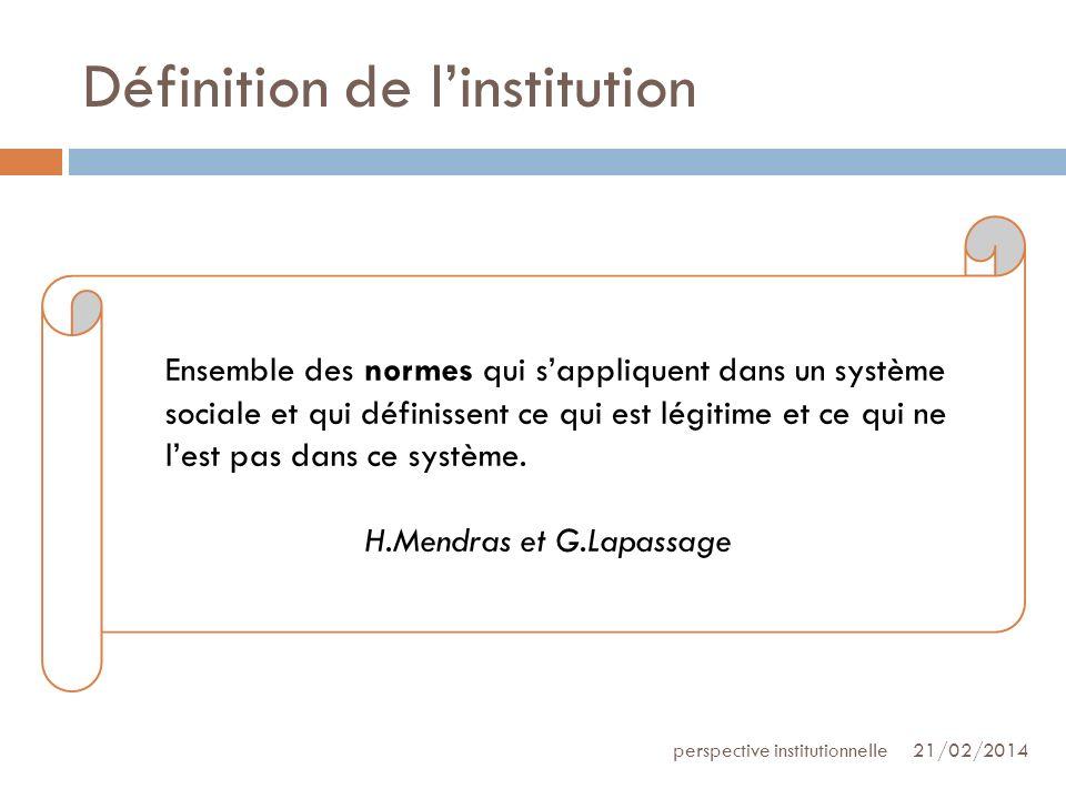 Définition de linstitution 21/02/2014perspective institutionnelle Ensemble des normes qui sappliquent dans un système sociale et qui définissent ce qu