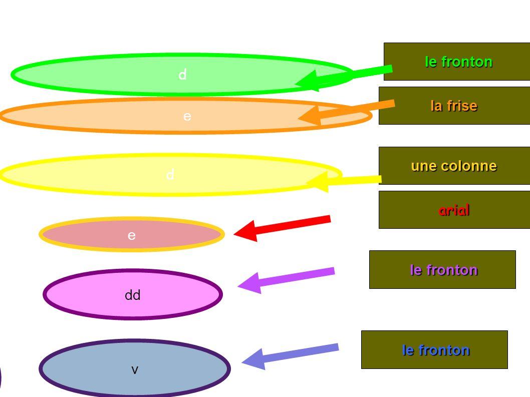 d la frise une colonne e le fronton le fronton arial e d d dd v le fronton le fronton -l b -l p -l r -l p