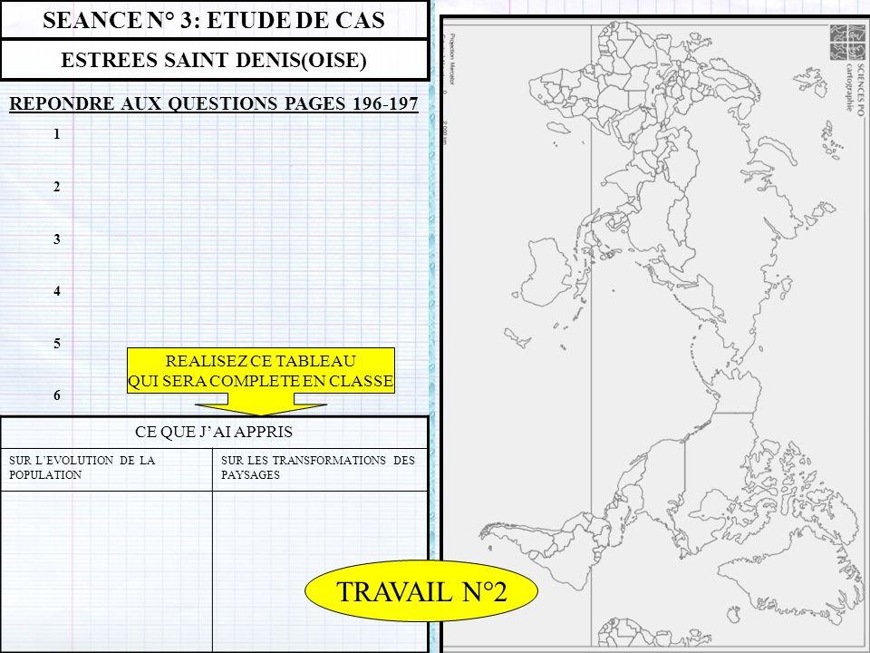 SEANCE N° 3: ETUDE DE CAS ESTREES SAINT DENIS(OISE) REPONDRE AUX QUESTIONS PAGES 196-197 CE QUE JAI APPRIS SUR LEVOLUTION DE LA POPULATION SUR LES TRA