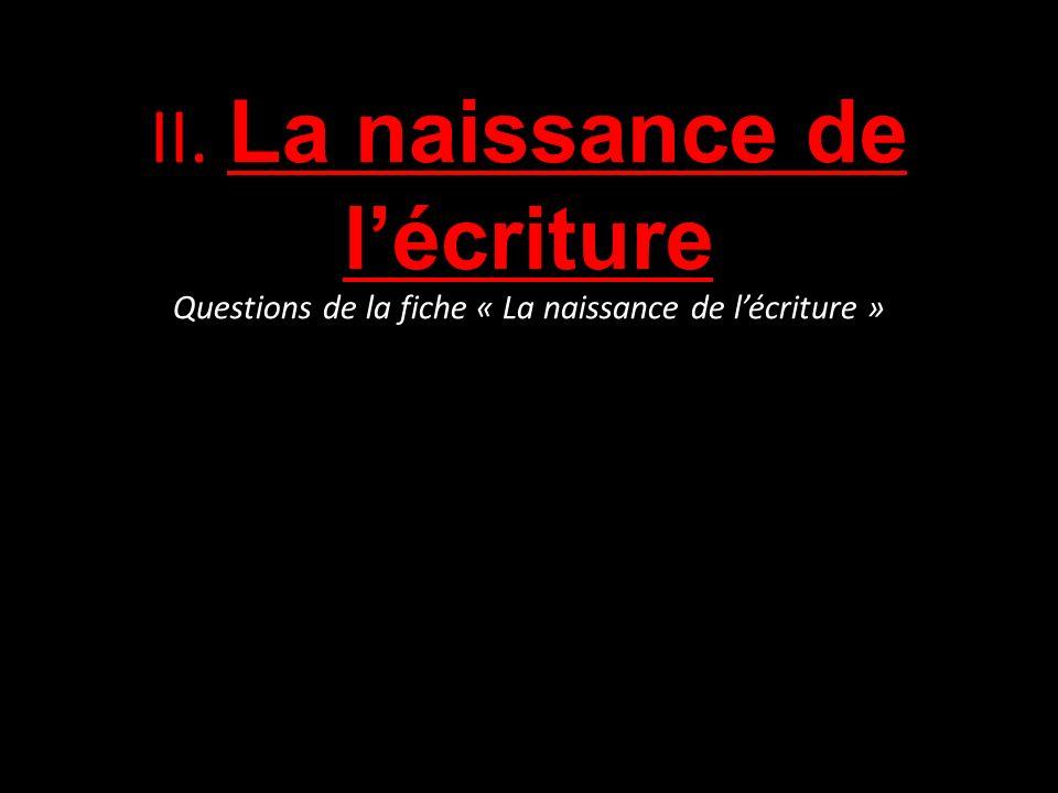 II. La naissance de lécriture Questions de la fiche « La naissance de lécriture »