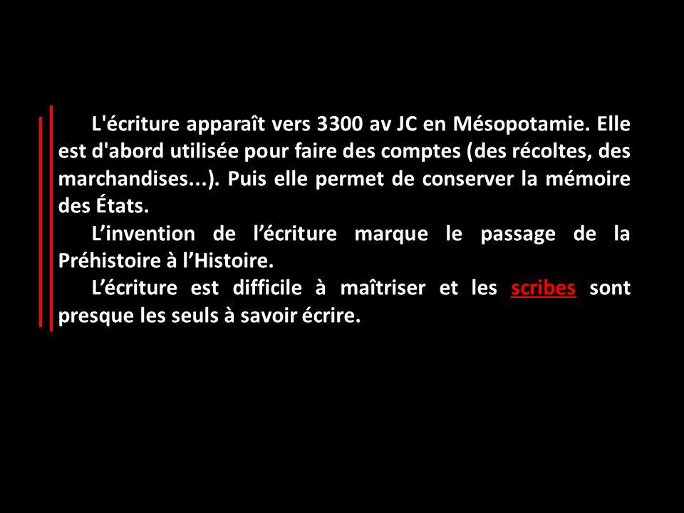 L'écriture apparaît vers 3300 av JC en Mésopotamie. Elle est d'abord utilisée pour faire des comptes (des récoltes, des marchandises...). Puis elle pe