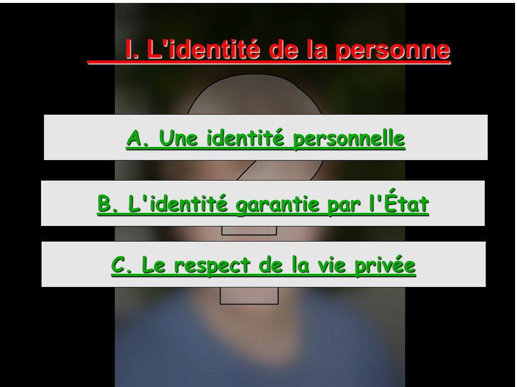 I. L'identité de la personne A. Une identité personnelle B. L'identité garantie par l'État C. Le respect de la vie privée