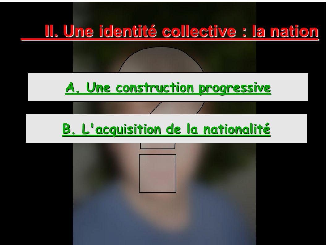 II. Une identité collective : la nation A. Une construction progressive B. L'acquisition de la nationalité