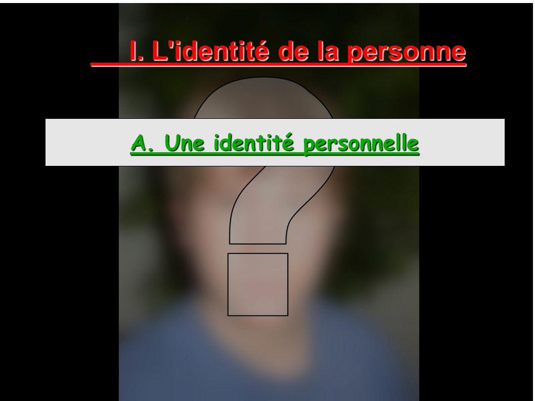 I. L'identité de la personne A. Une identité personnelle