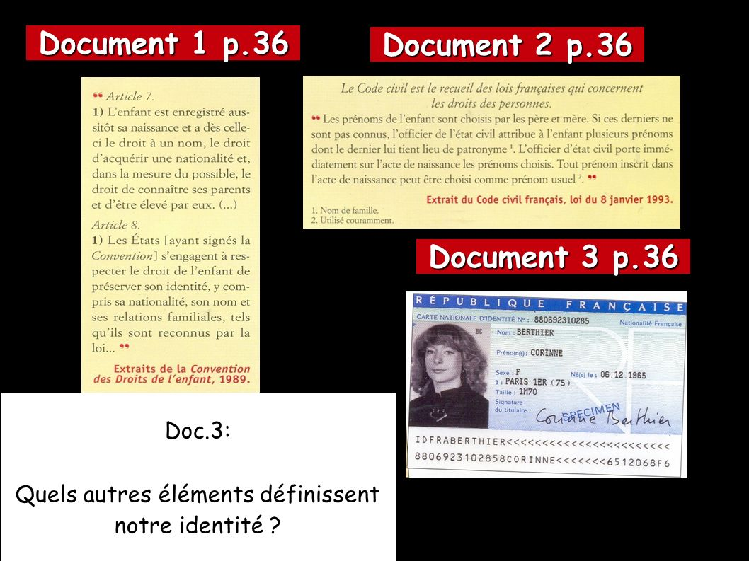 Document 1 p.36 Document 2 p.36 Document 3 p.36 Doc.3: Quels autres éléments définissent notre identité ?