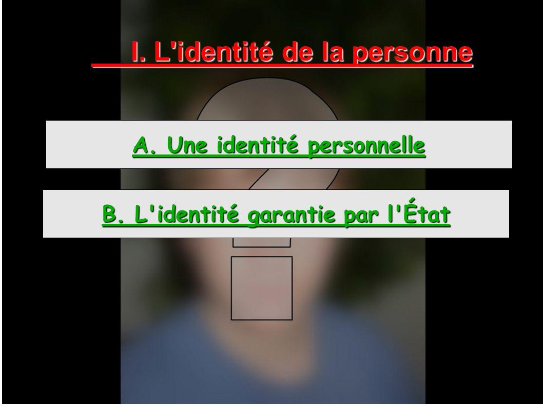 I. L'identité de la personne A. Une identité personnelle B. L'identité garantie par l'État
