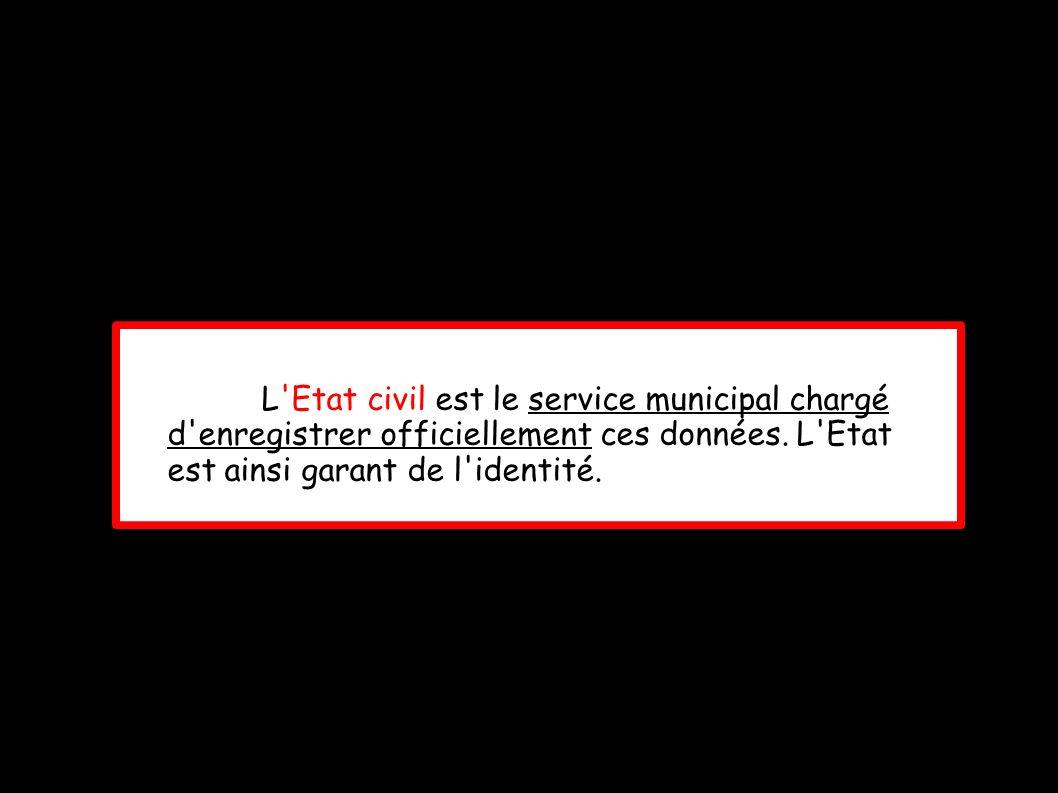L'Etat civil est le service municipal chargé d'enregistrer officiellement ces données. L'Etat est ainsi garant de l'identité.