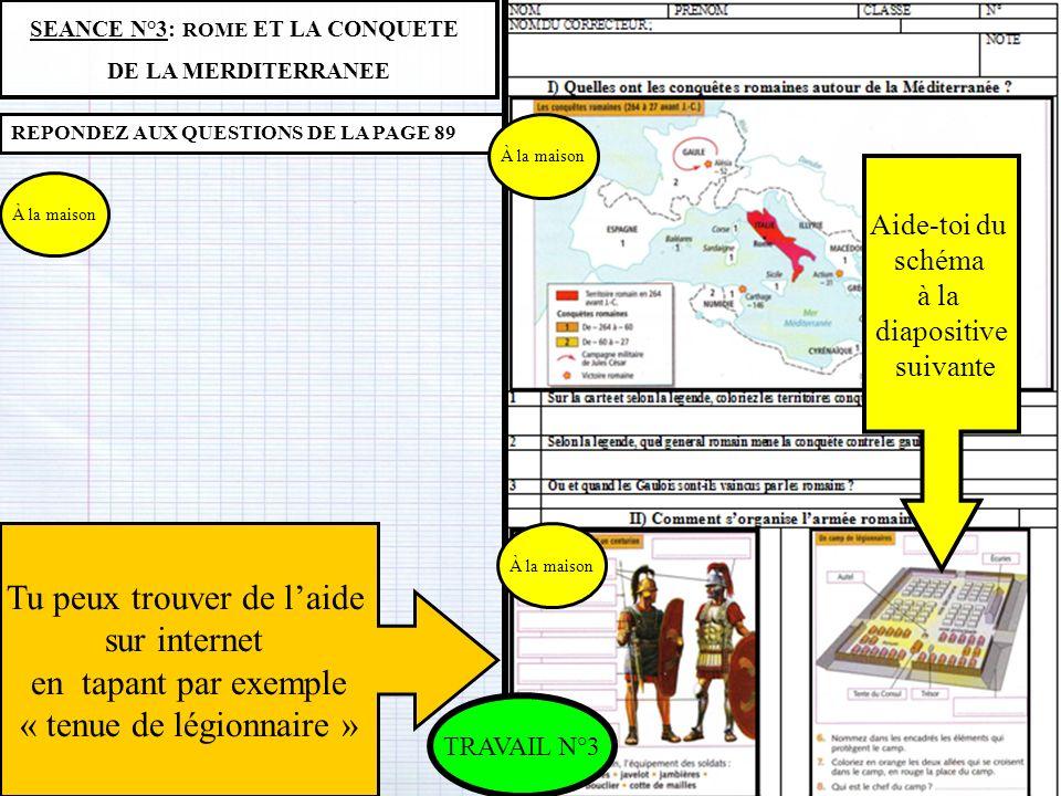 SEANCE N°3: ROME ET LA CONQUETE DE LA MERDITERRANEE REPONDEZ AUX QUESTIONS DE LA PAGE 89 Aide-toi du schéma à la diapositive suivante Tu peux trouver