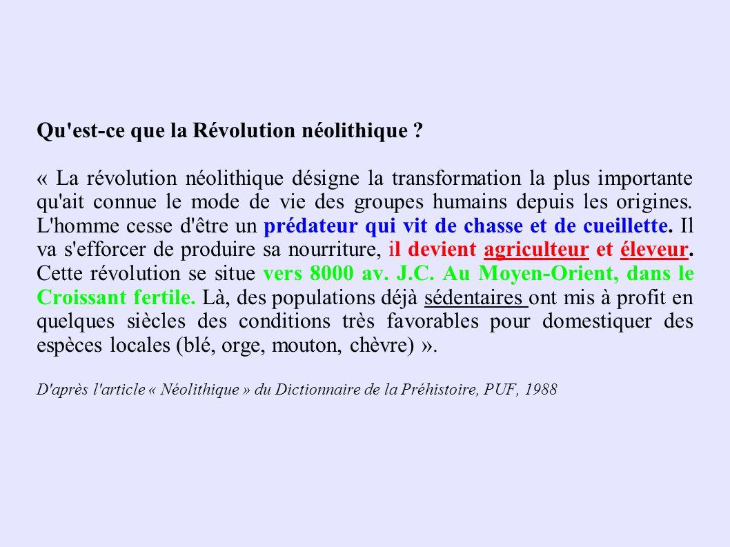 Qu'est-ce que la Révolution néolithique ? « La révolution néolithique désigne la transformation la plus importante qu'ait connue le mode de vie des gr