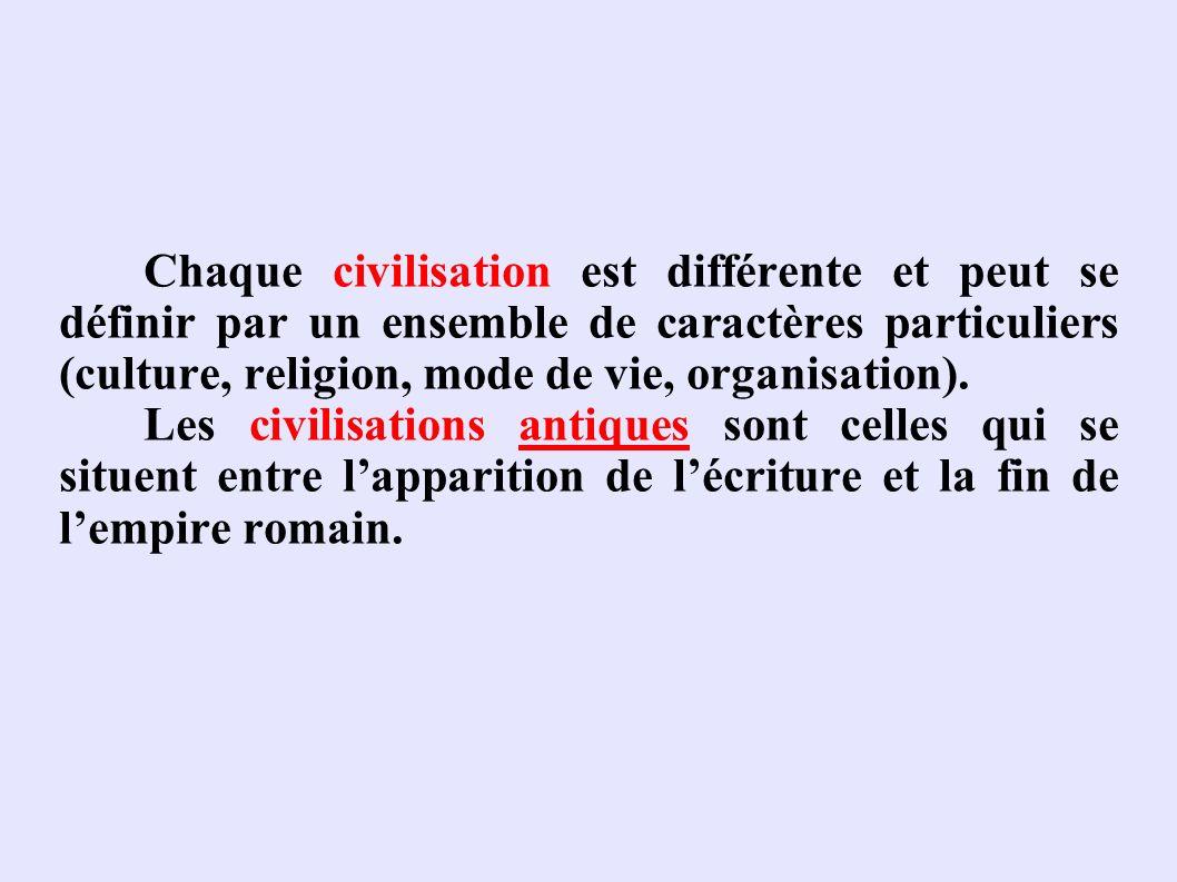 Chaque civilisation est différente et peut se définir par un ensemble de caractères particuliers (culture, religion, mode de vie, organisation). Les c