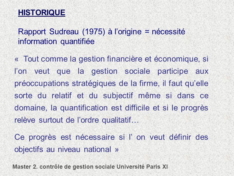 HISTORIQUE Rapport Sudreau (1975) à lorigine = nécessité information quantifiée « Tout comme la gestion financière et économique, si lon veut que la g