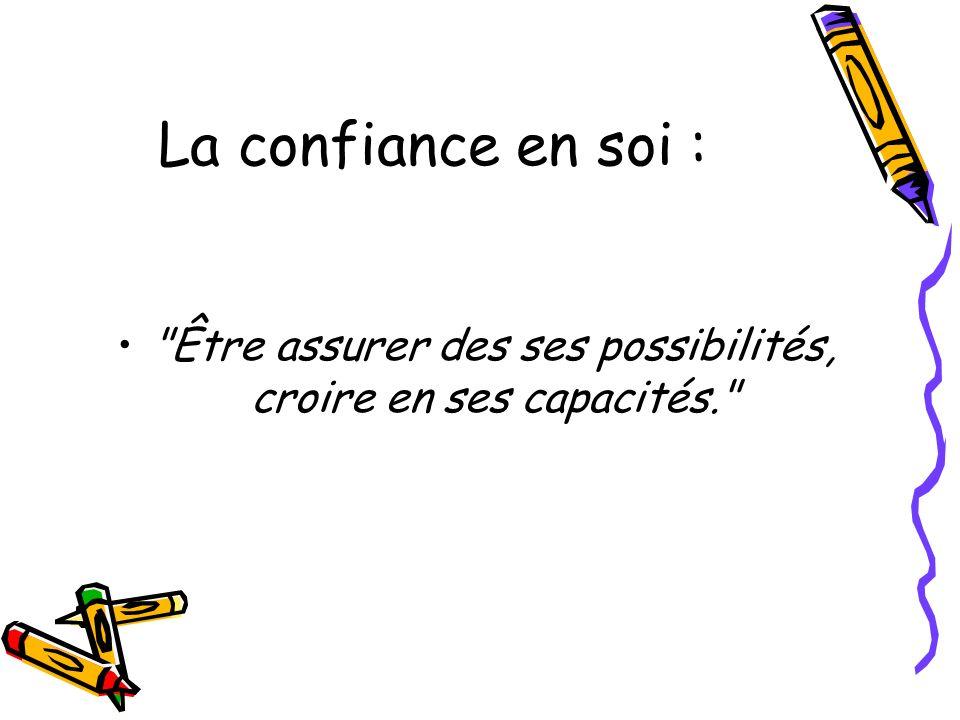 La confiance en soi :