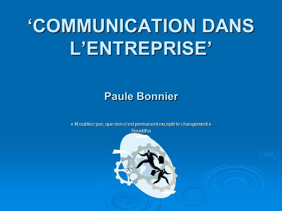 COMMUNICATION DANS LENTREPRISE Paule Bonnier « Noubliez pas, que rien nest permanent excepté le changement » Bouddha