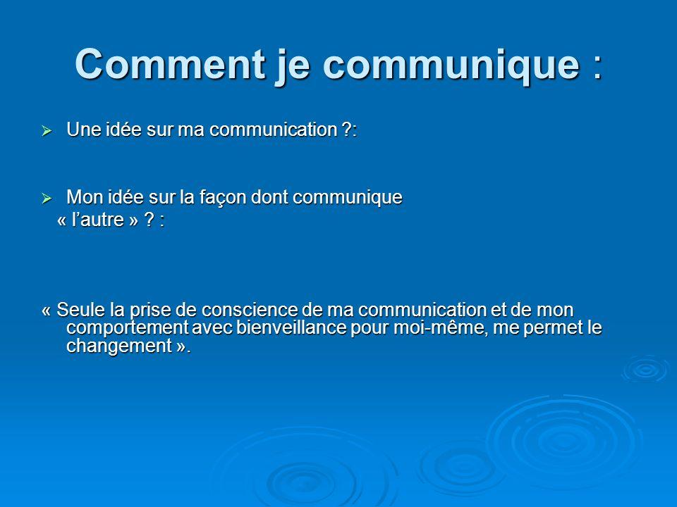 Comment je communique : Une idée sur ma communication ?: Une idée sur ma communication ?: Mon idée sur la façon dont communique Mon idée sur la façon dont communique « lautre » .