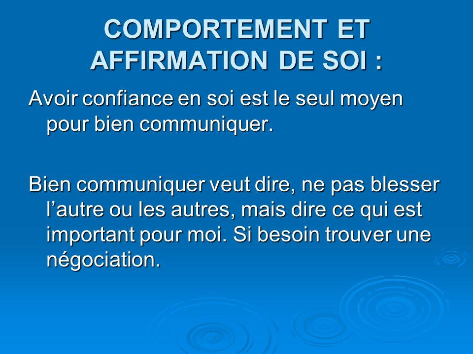 COMPORTEMENT ET AFFIRMATION DE SOI : Avoir confiance en soi est le seul moyen pour bien communiquer.