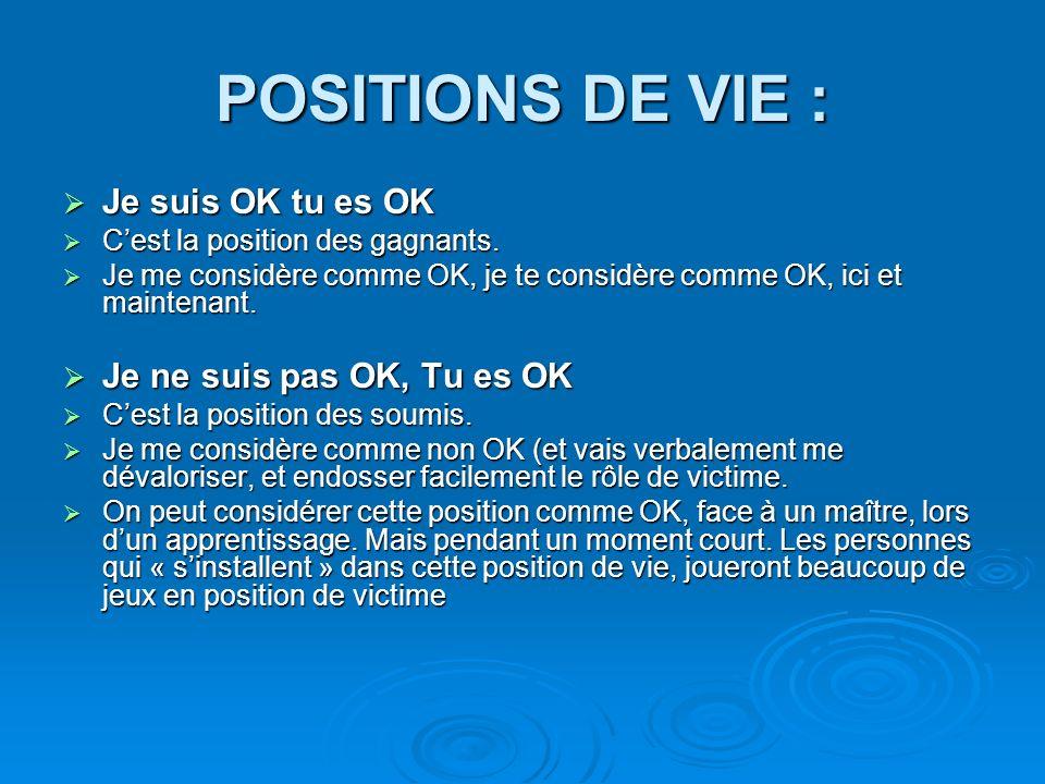 POSITIONS DE VIE : Je suis OK tu es OK Je suis OK tu es OK Cest la position des gagnants.