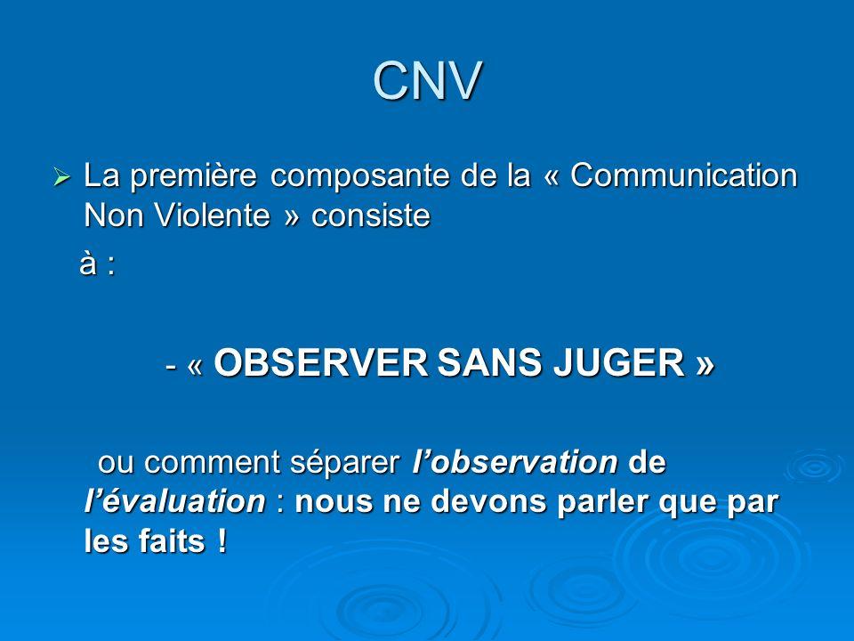 CNV La première composante de la « Communication Non Violente » consiste La première composante de la « Communication Non Violente » consiste à : à : - « OBSERVER SANS JUGER » - « OBSERVER SANS JUGER » ou comment séparer lobservation de lévaluation : nous ne devons parler que par les faits .