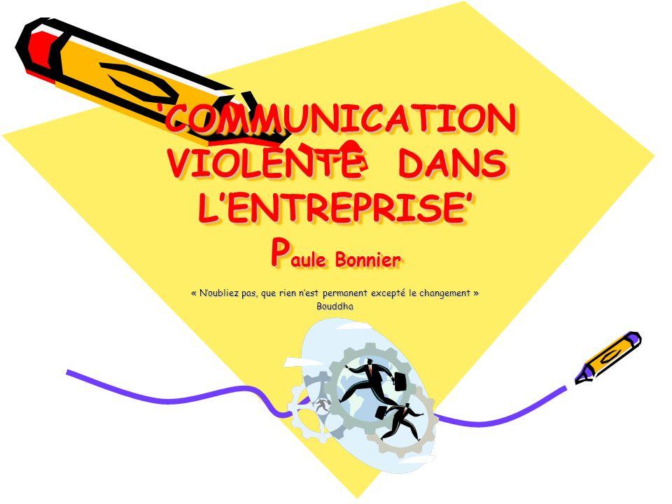 COMMUNICATION VIOLENTE DANS LENTREPRISE P aule Bonnier « Noubliez pas, que rien nest permanent excepté le changement » Bouddha