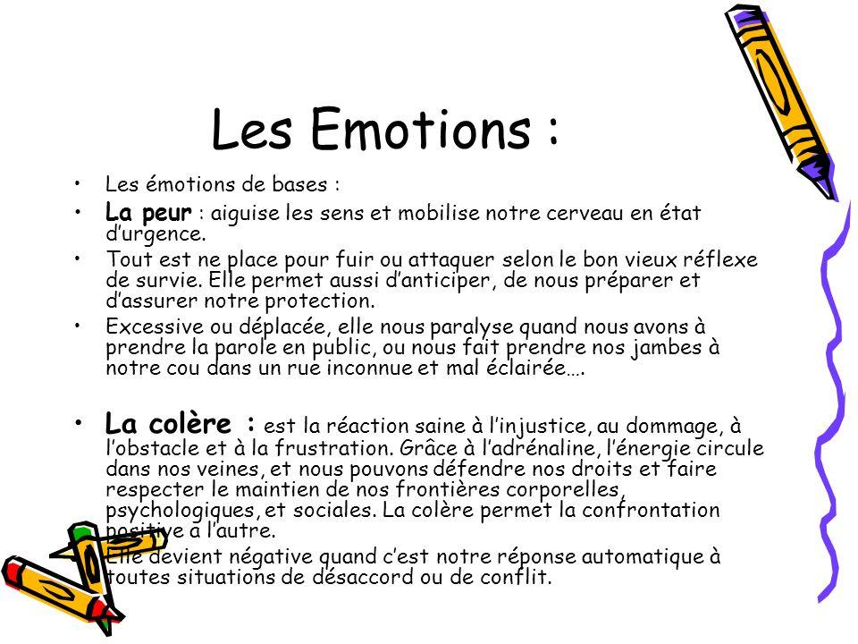 Les Emotions : Les émotions de bases : La peur : aiguise les sens et mobilise notre cerveau en état durgence. Tout est ne place pour fuir ou attaquer