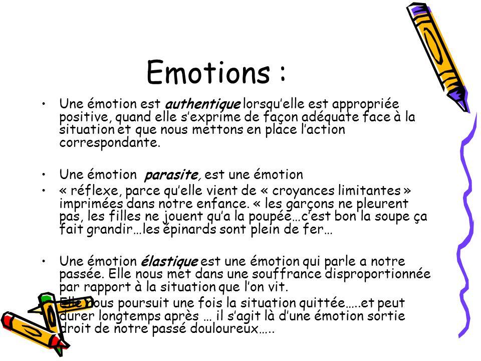 Emotions : Une émotion est authentique lorsquelle est appropriée positive, quand elle sexprime de façon adéquate face à la situation et que nous metto
