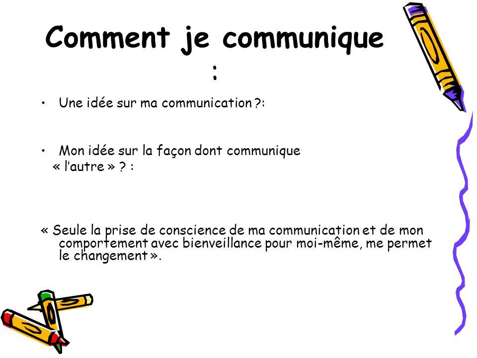 Comment je communique : Une idée sur ma communication ?: Mon idée sur la façon dont communique « lautre » ? : « Seule la prise de conscience de ma com