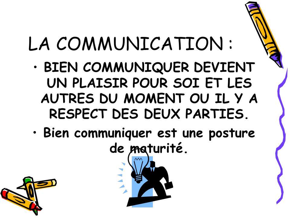 LA COMMUNICATION : BIEN COMMUNIQUER DEVIENT UN PLAISIR POUR SOI ET LES AUTRES DU MOMENT OU IL Y A RESPECT DES DEUX PARTIES. Bien communiquer est une p