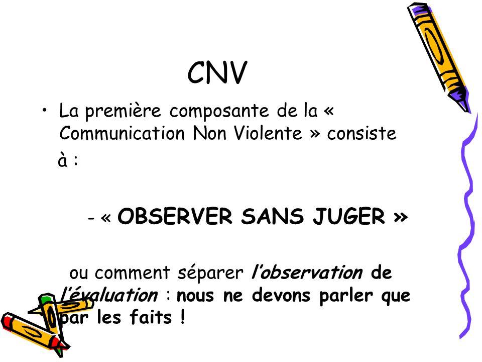 CNV La première composante de la « Communication Non Violente » consiste à : - « OBSERVER SANS JUGER » ou comment séparer lobservation de lévaluation