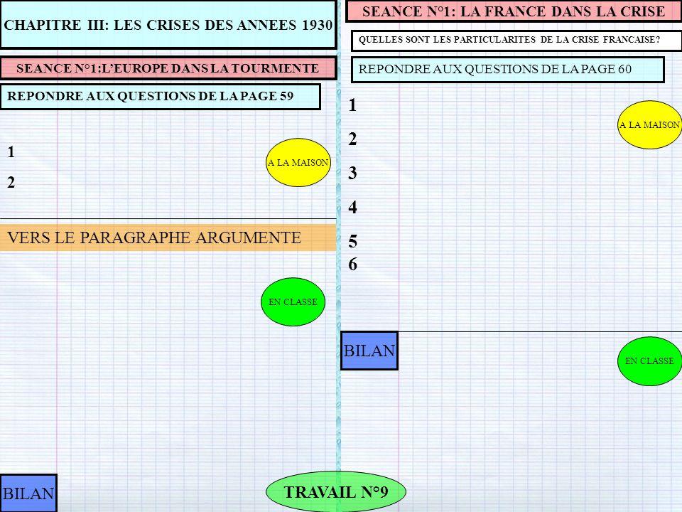 A LA MAISON CHAPITRE III: LES CRISES DES ANNEES 1930 SEANCE N°1:LEUROPE DANS LA TOURMENTE REPONDRE AUX QUESTIONS DE LA PAGE 59 1212 TRAVAIL N°9 BILAN SEANCE N°1: LA FRANCE DANS LA CRISE QUELLES SONT LES PARTICULARITES DE LA CRISE FRANCAISE.