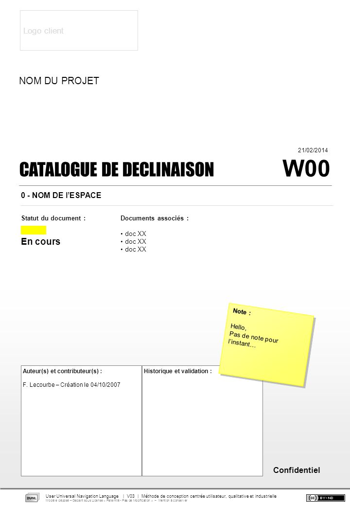 Confidentiel Documents associés : doc XX CATALOGUE DE DECLINAISON Statut du document : En cours Auteur(s) et contributeur(s) : F.